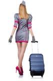 Airhostess z bagażem Zdjęcia Royalty Free
