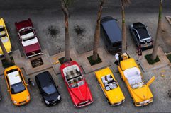 Airial view of luxury renovated old american car Stock Images