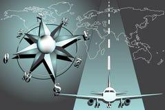 airiplane kompas wzrastał Fotografia Royalty Free