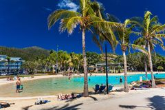 AIRLIE BEACH, AUS - SEPT 20 2017: A day at the lagoon in Airlie Royalty Free Stock Photos
