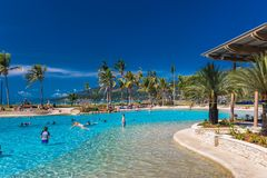 AIRLIE BEACH, AUS - SEPT 20 2017: Hot day the lagoon in Airlie b Royalty Free Stock Images