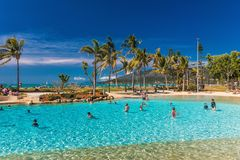 AIRLIE BEACH, AUS - SEPT 20 2017: Sunny day the lagoon in Airlie Stock Images