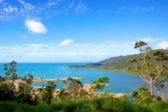 Airlie Beach Australia. Landscape view of Airlie Beach marina development in the Whitsundays Australia Stock Photos