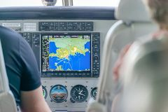 AIRLIE BEACH, AUSTRALIA - AUGUST 25, 2018: Cockpit Of A Small Airplane Ready For Take Off. The Place Is A Famous Starting Point Stock Images