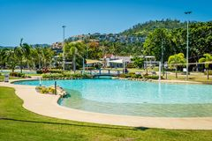 Airlie beach swimming pool lagoon in the summer, Queensland, Australia stock photo
