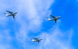 3 airlifters stratégiques universels (francs) d'Ilyushin Il-76 Photos stock