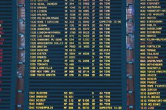 Airline announcement board. Airpot flight listings arrivals departures travel destinations large transit facilities aviation industry travel time points Stock Photos