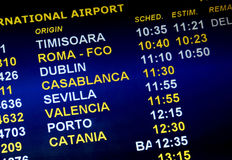 Airline arrival times Stock Images