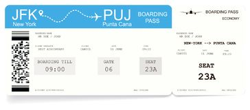 Airline boarding pass or airplane ticket. Pattern of boarding pass for flight from New-York to Punta Cana. Concept of travel to ocean or sea. Vector stock illustration