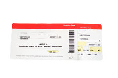 Airline boarding pass in red and white Royalty Free Stock Photography