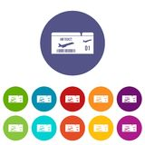 Airline boarding pass set icons vector illustration