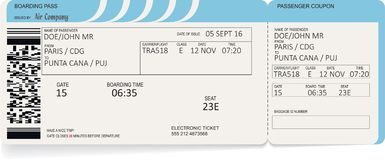 Airline boarding pass ticket. Concept of journey. Airline boarding pass ticket. Vector illustration. Concept of journey, business trip or travel. Blue colors Royalty Free Stock Image