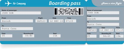 Airline boarding pass ticket. Concept of journey. Airline boarding pass ticket. Vector illustration. Concept of journey, business trip or travel. Blue colors Royalty Free Stock Photo