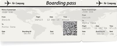Airline boarding pass ticket with QR2 code Royalty Free Stock Photography