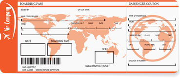 Airline boarding pass tickets with barcode. Vector pattern of airline boarding pass tickets with barcode Royalty Free Stock Image
