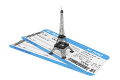 Airline boarding pass tickets with Eiffel Tower Royalty Free Stock Photo