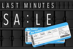 Airline Boarding Pass Tickets in front of Last Minutes Sale Sign. Over Flip Scoreboard Airport Panel extreme closeup. 3d Rendering Stock Photography