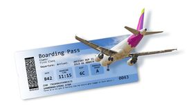Airline boarding pass tickets isolated on white - Artwork on fus. Elage is totally invented as well as other content of the image and does not contain under Royalty Free Stock Images