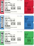 Airline boarding pass tickets set with shadow. Isolated on white background. Vector illustration Royalty Free Stock Photos