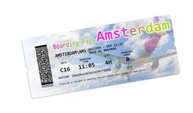 Airline boarding pass tickets to Amsterdam isolated on white - T. He contents of the image are totally invented Royalty Free Stock Photography