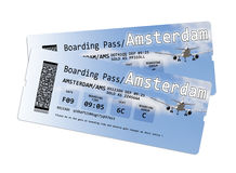 Airline boarding pass tickets to Amstersam. Isolated on white - The contents of the image are totally invented Royalty Free Stock Photography