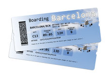 Airline boarding pass tickets to Barcelona (Europe-Spain)) Stock Images