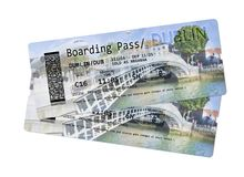 Airline boarding pass tickets to Dublin - The most famous bridge Stock Photos