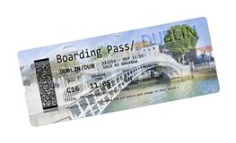 Airline boarding pass tickets to Dublin - The most famous bridge Stock Image