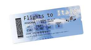 Airline boarding pass tickets to `Italy` isolated on white. Royalty Free Stock Image