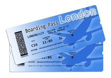 Airline boarding pass tickets to London - The contents of the im royalty free stock image