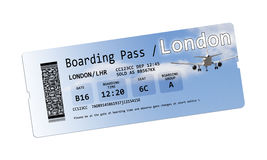 Airline boarding pass tickets to London isolated on white Stock Image