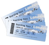 Airline boarding pass tickets to London isolated on white.  Stock Photos
