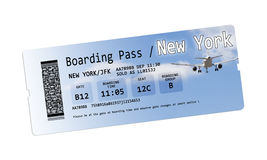 Airline boarding pass tickets to New York isolated on white Stock Photo