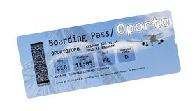 Airline boarding pass tickets to Oporto isolated on white. The contents of the image are totally invented - The background images. Airline boarding pass tickets Royalty Free Stock Image