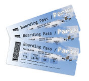 Airline boarding pass tickets to Paris (Europe-France) Stock Image