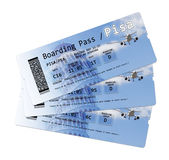 Airline boarding pass tickets to. Pisa International Airport isolated on white Royalty Free Stock Photo