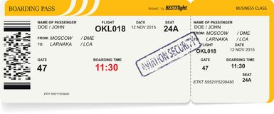 Airline boarding pass tickets to plane for travel. Journey. Vector illustration Stock Photos