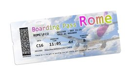 Airline boarding pass tickets to Rome isolated on white - The co Stock Photo