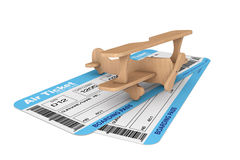 Airline boarding pass tickets with Toy Airplane Stock Photos