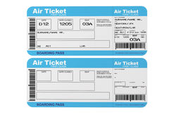 Airline boarding pass tickets. On a white background Royalty Free Stock Photo