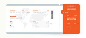 Airline Boarding Pass with World Map. Template ticket for traveling on plane for flight. Flat Vector illustration EPS10.  stock illustration