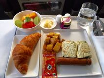 Airline business class meal Stock Photo