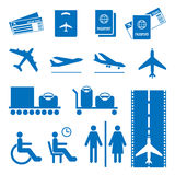 Airline colourless signs set. Passports and tickets, airplane flying, baggage Stock Image