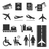 Airline colourless signs set. Passports and tickets, airplane flying, baggage Royalty Free Stock Photo