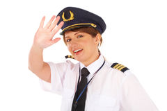 Airline female pilot Stock Photos