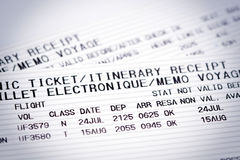 Airline flight tickets stock images