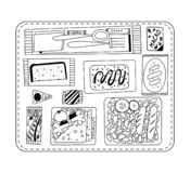 Airline food. Lunch on a board. Black and white illustration for coloring book. Vector outline illustration. stock illustration