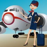 Airline hostess with airplane Royalty Free Stock Photos
