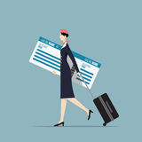 Airline Hostess. Airline Hostess Carrying a Big Boarding Pass Royalty Free Stock Photo