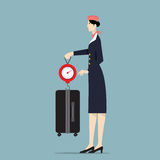 Airline Hostess Weighting Luggage With Scale. Royalty Free Stock Photos